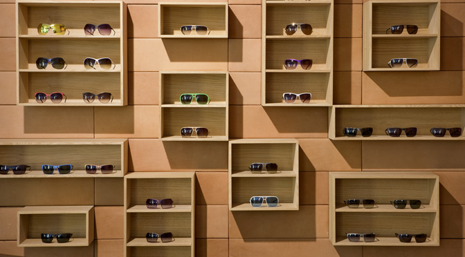 Orgreen , Eyewear, Copenhagen eyewear, or green store, sunglasses, eyewear store display