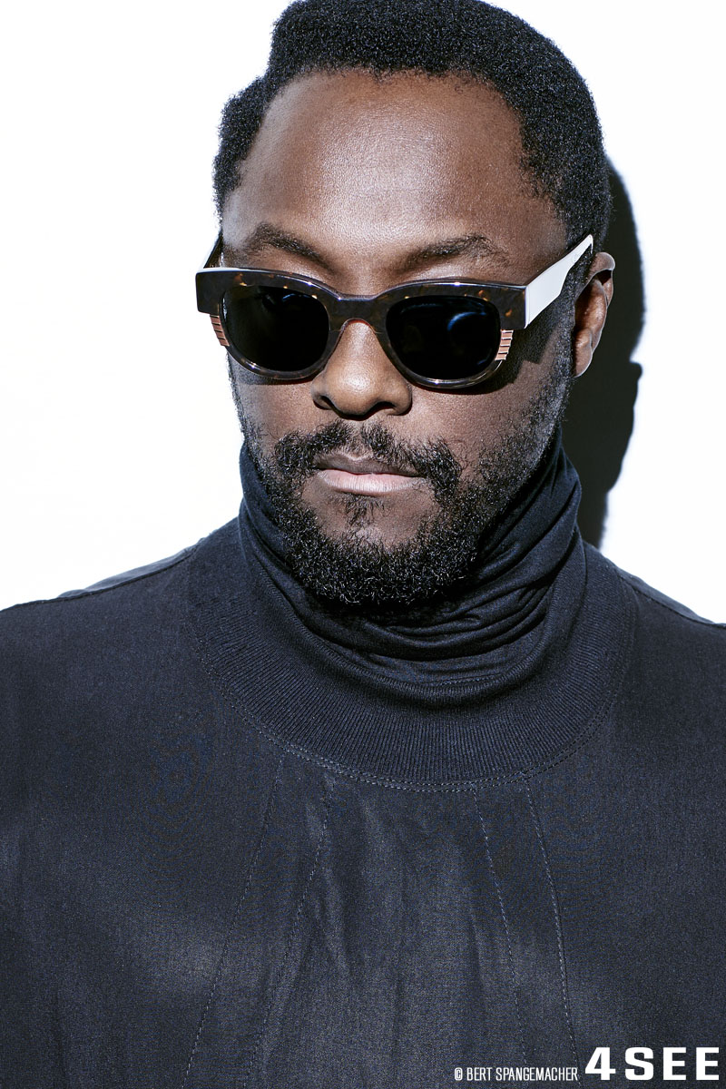will.i.am wearing his own eyewear, ill.i optics, photographed by Bert Spangemacher