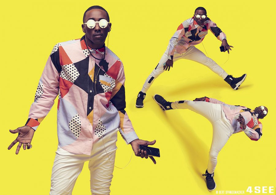 StoryBoard P, Dancer, AKA Professor at Section 215 Ent. Eyewear by BLACKFIN SLOT Multi-Color T-shirt by HENRIK VIBSKOV, White pants, Black & White sneakers by Y-3