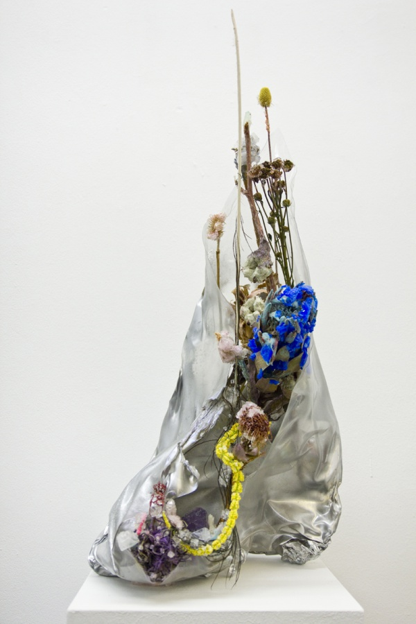 "Sadie Weis, ""Sci-Copia"" Various crystalized plants and flowers of Potassium Dichromat, Copper Sulphate, Potassium Aluminium Sulphate, Ammonium Dihydrogen Phosphate, melted plastic, holographic glitter, silicon, 2017."