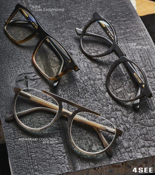 Hoffmann eyewear, r. S-Line 791 H30 matt m. S-Line 2246 D H10/910-H10 l. Anniversary Collection 40-VI matt