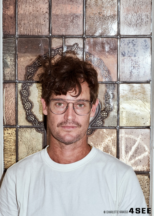 Artist Murray Gaylard wearing glasses by RETROSUPERFUTURE