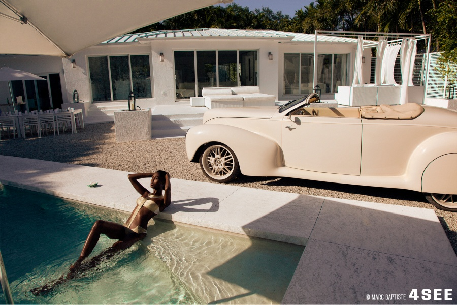 Female Model swimsuits home pool car photography by Marc Baptiste