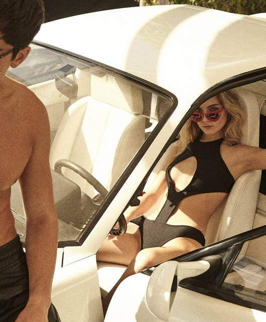 Models Louis Rizzo and Leah Rose is wearing sunglasses by GREY ANT and DITA