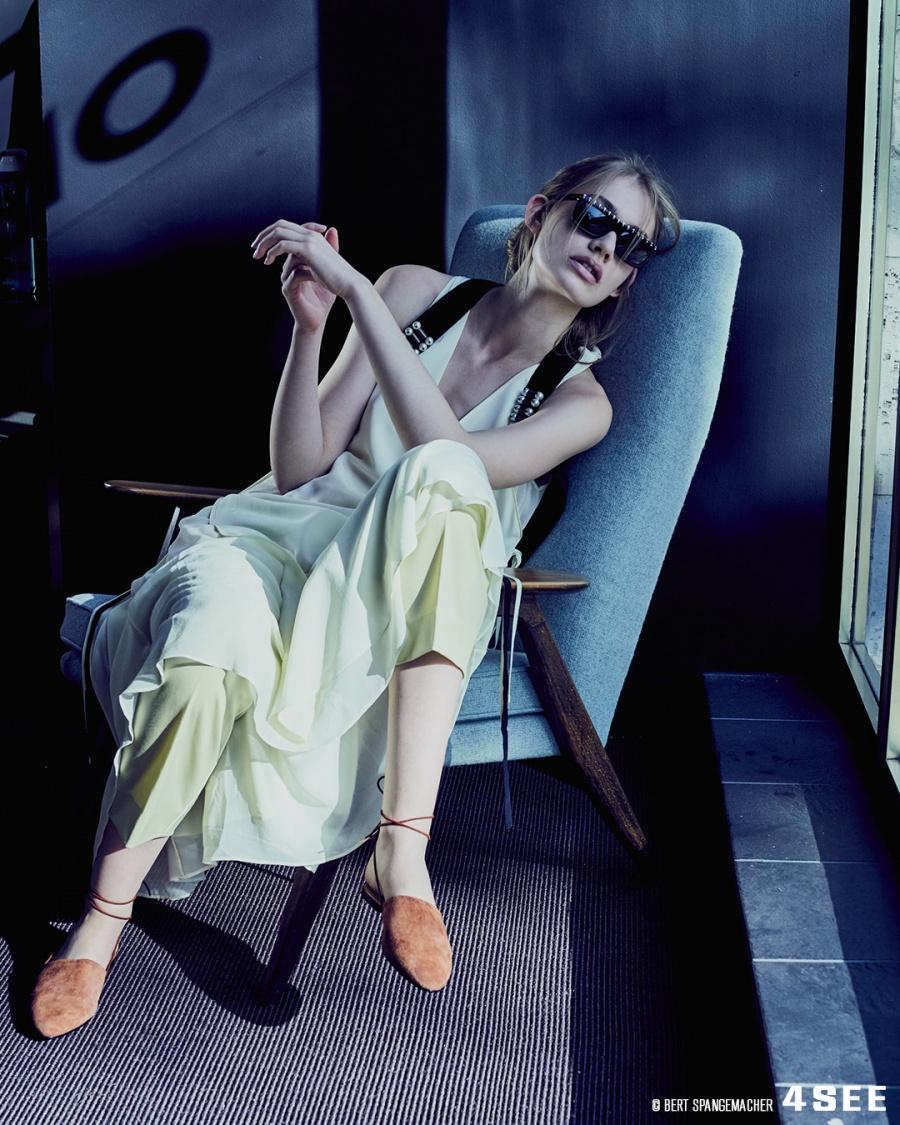 Eyewear by VALENTINO VA4010; Dress, Pants, Vest by DOROTHEE SCHUMACHER, Slipper by CLOSED