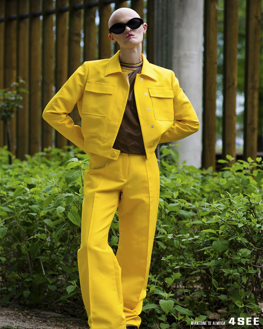 Eyewear Editorial with Melanie Gaydos // Sunglasses by ALAIN MIKLI A05049 // Jacket and Trousers by Pallas, Shirt by Henrik Vibskov, Brown Vinyl Top by Max Mara, Boots by ACNE Studios