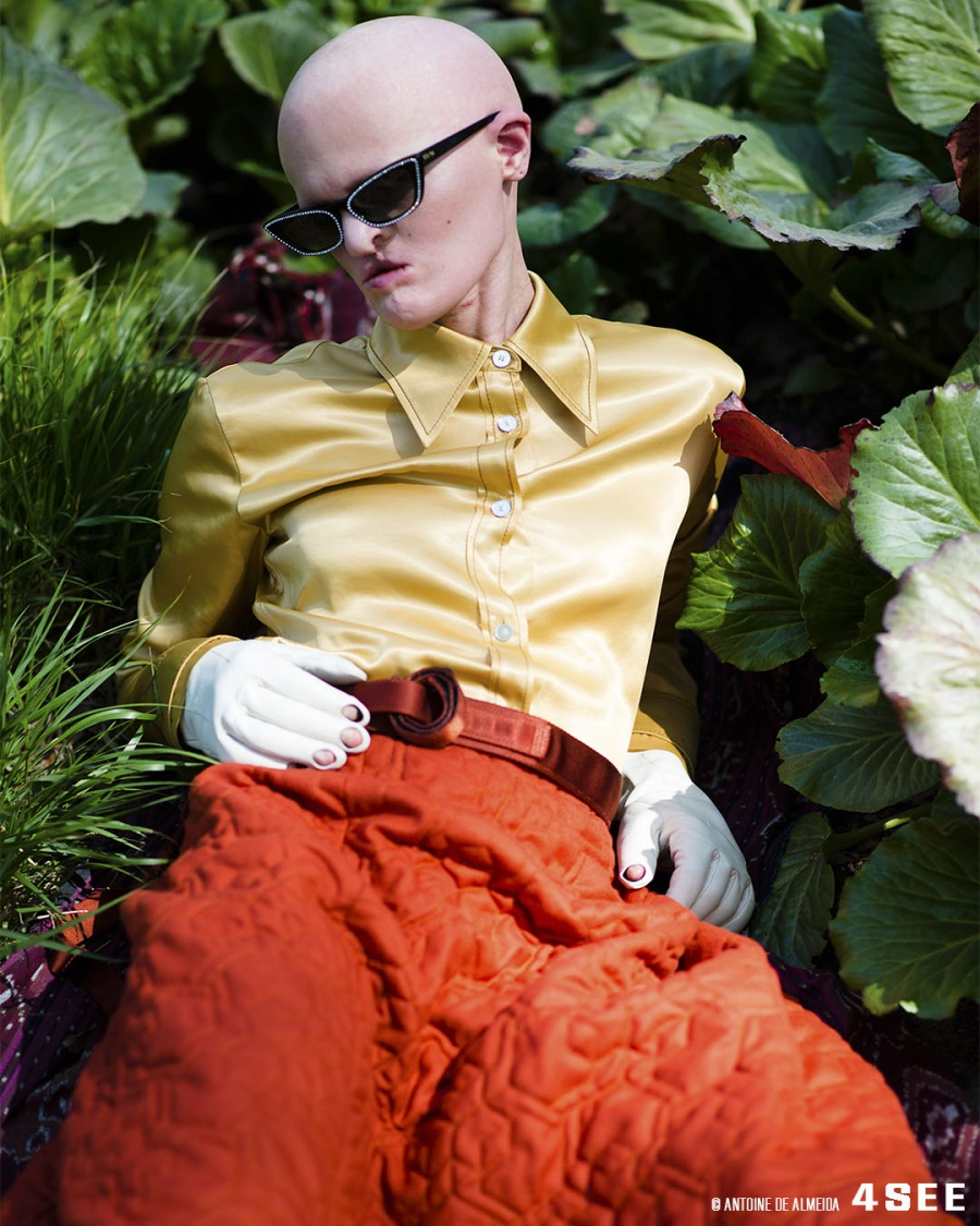 Eyewear Editorial with Melanie Gaydos // Sunglasses by miu miu MU10US // Blouse and Gloves by ACNE Studios, Skirt by Eatable of Many Orders, Belt by CP Company