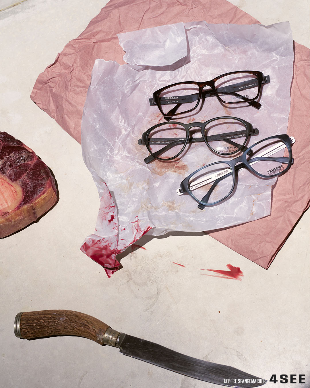 True Crime, 4SEE Eyewear Fashion Editorial featuring KOBERG eyewear, photography by Bert Spangemacher, props by Charlotte Krauss