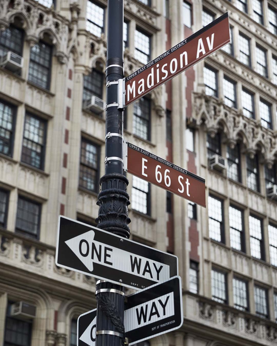 Street signs of NYC, Madison Ave. and E 66th Street