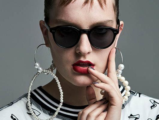 4SEE Eyewear Editorial, Shot by Bert Spangemacher, featuring Eyevan Sunglasses with a dress by Tata Christiane