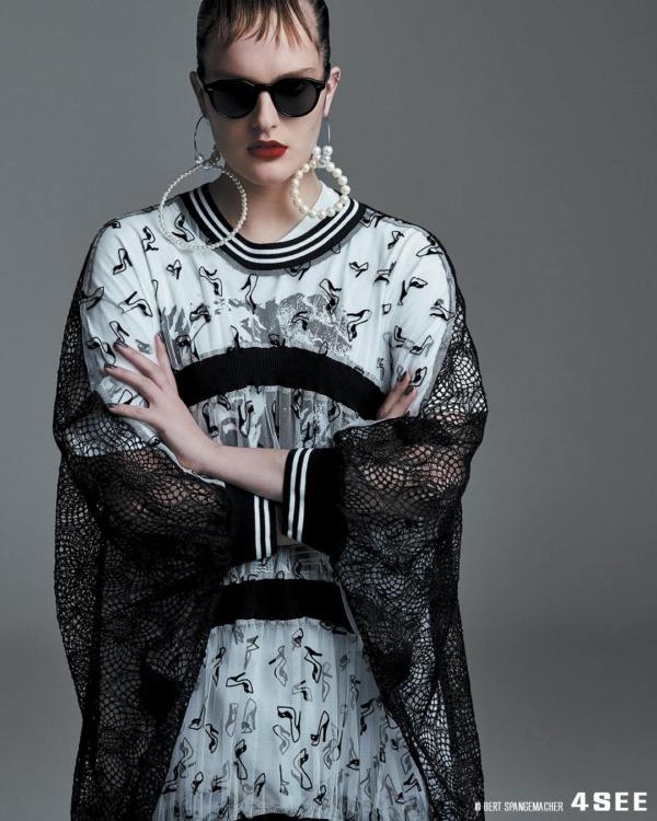 4SEE Eyewear Editorial, Shot by Bert Spangemacher, featuring Eyevan Sunglasses with a dress by Tata Christiane