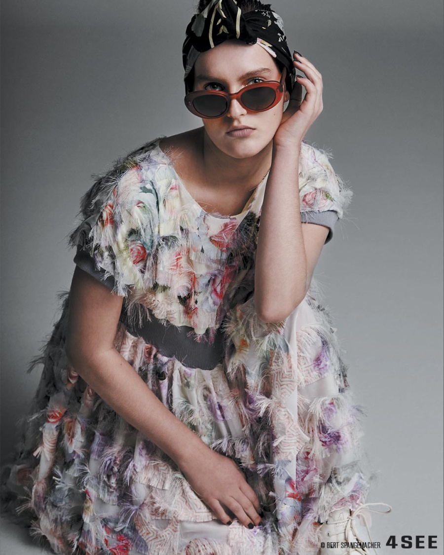 A dress by a Berlin based French designer Tata Christiane, eyewear by SALT., photo by Bert Spangemacher