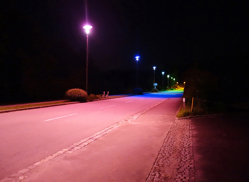 """Border Lights"" by Zora Kreuzer, 2017, colour gels on streetlights / Werntstein (AUT)"