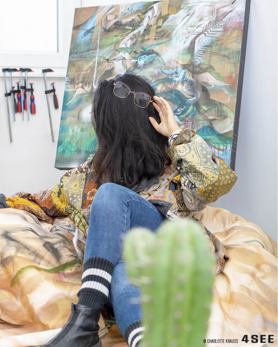 Cecilia Lo in her studio in Berlin for 4SEE, photo by Charlotte Krauss