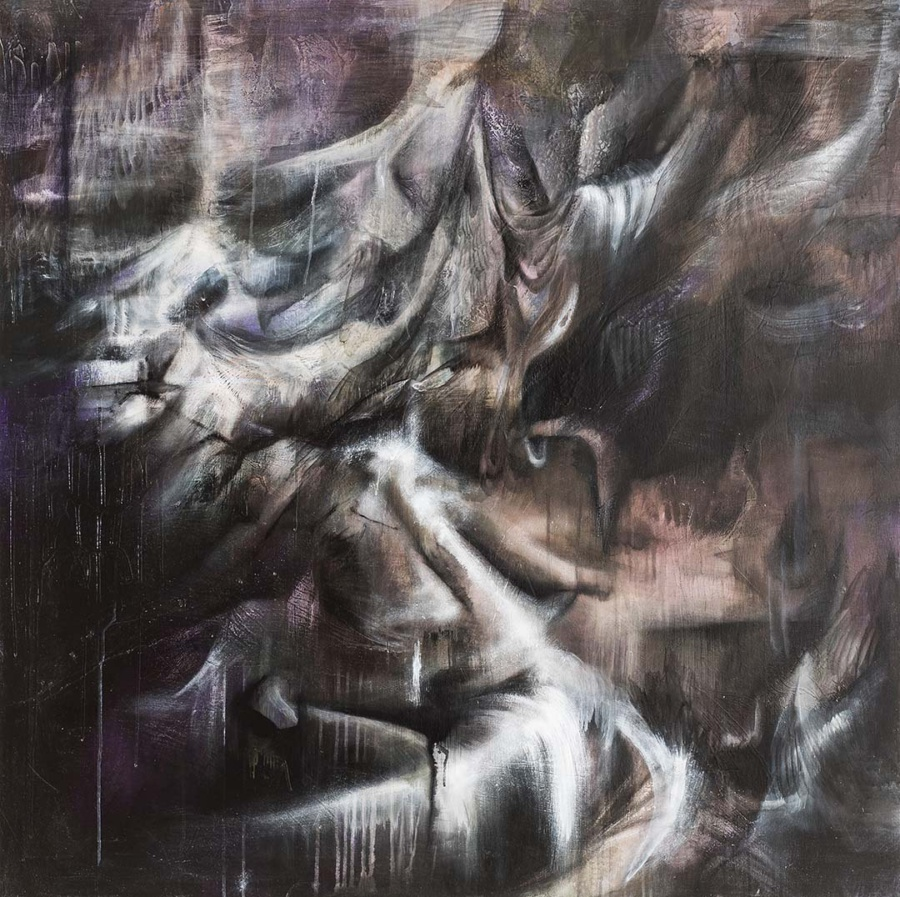"""Terrains"" by Cecilia Lo (2018), mixed media on panel, 122 x 122cm"