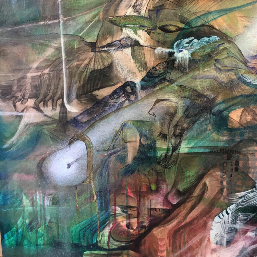"""Detail shoot"" by Cecilia Lo (2019), mixed media on panel, 91 x 122cm"